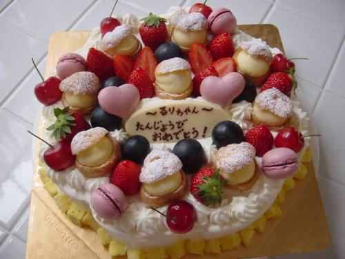 フラワーバースデーケーキ*ピンクマカロン